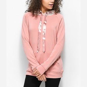 Sweaters - wiley blush velvet hoodie with ribbon